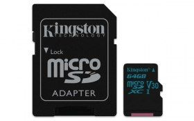 Memoria MicroSDXC Kingston Canvas Go! - 64GB - Clase 10 - UHS-I - V30 - C/Adaptador